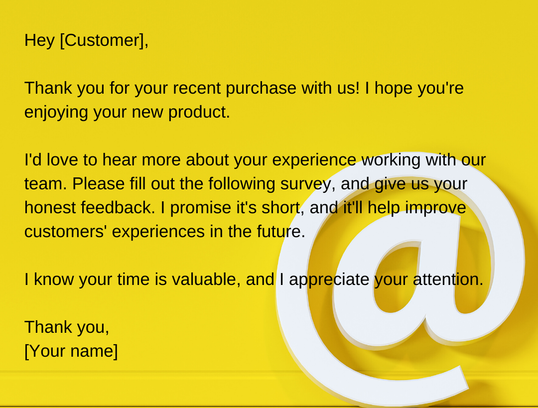 qestionnaire customer email templates in english