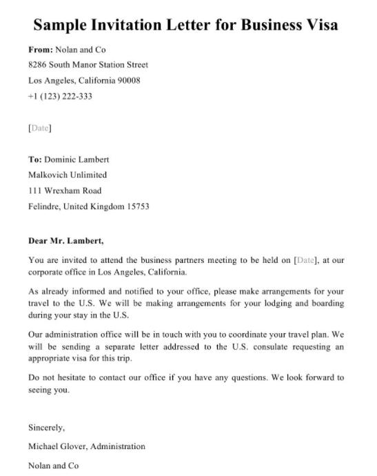 письмо приглашение на английском на встречу