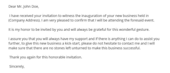 ответит на английском на письмо приглашение